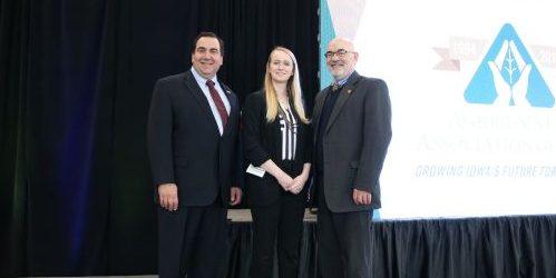 (pictured left to right: Dean Daniel Robison, Iowa Seed Scholarship Recipient Rachel Nordhoff, and Dr. Tom Brumm, ISU ABE)